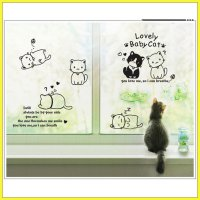 wall sticker 60x90/wall stiker transparan- AY9048-CUTE LOVELY CATS