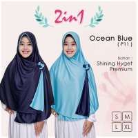 Pricilla Jilbab Bolak Balik 2 in 1 P11 - Ocean Blue XL