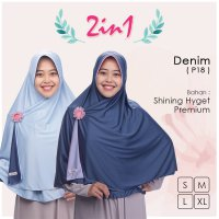 Pricilla Jilbab Bolak Balik 2 in 1 P18 - Denim XL