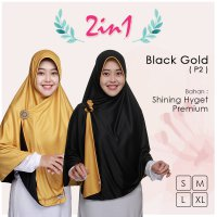 Pricilla Jilbab Bolak Balik 2 in 1 P2 - Black Gold XL