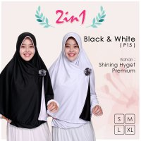Pricilla Jilbab Bolak Balik 2 in 1 P15 - Black White XL