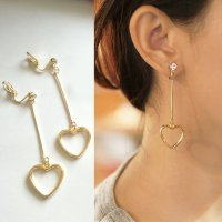 RFSDES954 - 955 Minimalist Heart Diamond Long Ear Clip No Needle