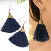 RFSJN1050 - 51 - 52 - 53 Bohemian Long Paragraph Tassel Earrings