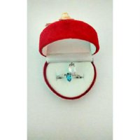 Cincin white sapphire dan blue aquamarine 925 silver, gold plated size 7