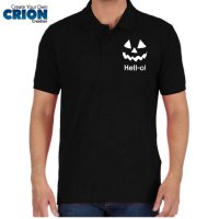 Kostum Halloween - Polo Shirt Pumkin Face Says Hell-o! - By Crion