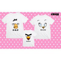 Kaos Couple Family - Angry Bird Yellow, Red , And Pink Face - By Crion