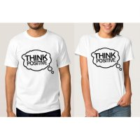 Tumblr Tee / T-Shirt / Kaos Couple Think Positive Warna Putih