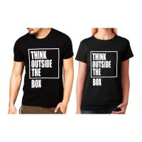 Tumblr Tee / T-Shirt / Kaos Couple Think Outside Warna Hitam