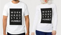 TUMBLR TEE / T-SHIRT / KAOS COUPLE (WANITA LENGAN PANJANG) WORK HARD WARNA PUTIH