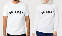 TUMBLR TEE / T-SHIRT / KAOS COUPLE (WANITA LENGAN PANJANG) GO AWAY WARNA PUTIH