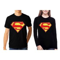TUMBLR TEE / T-SHIRT / KAOS COUPLE (WANITA LENGAN PANJANG) SUPERMAN WARNA HITAM