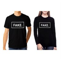 TUMBLR TEE / T-SHIRT / KAOS COUPLE (WANITA LENGAN PANJANG) FAKE WARNA HITAM