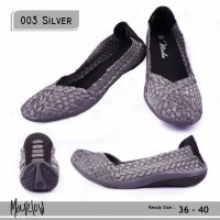 SEPATU KOREA CASUAL FLAT SHOES IMPORT 003 SILVER