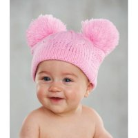 Mudpie Pom Pom Pink Cable Knit Hat #150A026