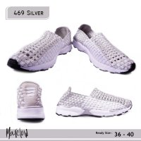 SEPATU KOREA CASUAL SLIP ON IMPORT 469 SILVER