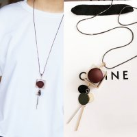 RFSJN1100 Long Chain Square Tassel Necklaces Maroon