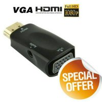 Full HD 1080P male to VGA and audio adapter for HDTV 3.5mm audio jack