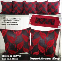SARUNG BANTAL SOFA MINIMALIS / SARUNG BANTAL KURSI SET / LEAVES RED