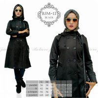 Jaket Muslimah Long Coat Believe BJM 13 Black