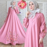 Gamis Maxi Dress Pesta Balotelli Embos Batik Bordir Umbrella Busui 2