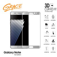 Grace Samsung Galaxy Note FE / Fan Edition - 5.7 inch Tempered Glass - 3D Curved Full Cover - Silver