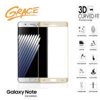 Grace Samsung Galaxy Note FE / Fan Edition - 5.7 inch Tempered Glass - 3D Curved Full Cover - Emas