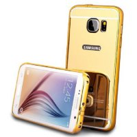 Bumper Mirror Samsung Galaxy E7 E700 Slide Mirror Backcase Metal Case Hardcase Softcase Gold