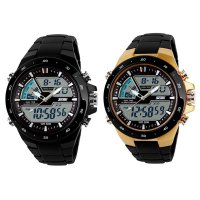 Male Dual Display Waterproof Multi Function LED Sports Watch Alarm black