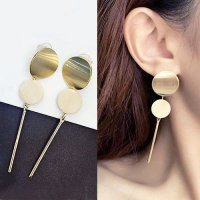 [ANTING] 02F5BAr Circle Disc Wood Earrings Wafer Wood Matte Sterling Gold S925 Gold