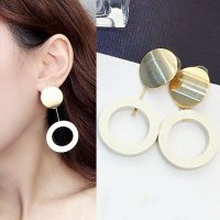 [ANTING] 02F5BBr Circle Hollow Wood Earrings Wafer Wood Matte Sterling Gold S926 Gold