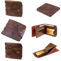 Mens Genuine Leather Bifold Wallet Credit ID Card Holder Slim Purse