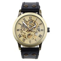 Luxury Man's Bronze Leather Band Self-Winding Automatic Mechanical Wrist Watch