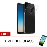 Case for Samsung Galaxy A8 Plus 2018 / A8+ / A730F - Clear + Gratis Tempered Glass - Ultra Thin Soft Case