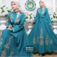 Maxi Dress Gamis Casual Bordir Baby Blue