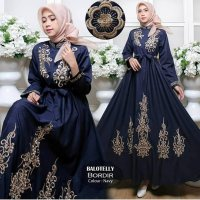 Maxi Dress Gamis Casual Bordir Navy