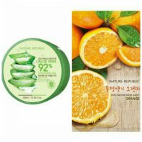 Nature Republic Soothing & Moisture Aloe Vera 92% + Sheet Mask Orange (1pcs)