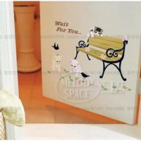 Set Stiker Dekorasi Dinding Motif 3 Kucing 'Wait For You' SJ0022