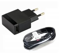Sony EP881/EP880 Charger Adapter EU Plug with Micro USB Cable- Hitam - Free Waterproof