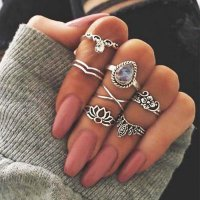 [CINCIN] 02FDACr Bogemian Midi Multi Layer Ring Retro Hollow Carved Gemstone Silver Type 1