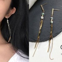 [ANTING] 02FDAAr Bohemian Retro Natural Turquoise Long Fringed Earrings Gold