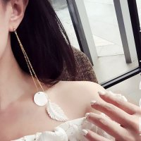 [ANTING] 02FB2Er Retro Feather Lace Fritillaria Long Earrings Gold+White