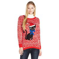 [macyskorea] Isabellas Closet Womens Whimsical Cat with Santa Hat and Sequins Ugly Christm/15836196