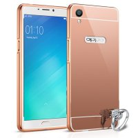 Bumper Mirror Oppo R9 2 in 1 Slide Mirror Backcase Metal Case Hardcase Softcase Rosegold Pink