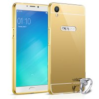 Bumper Mirror Oppo R9 2 in 1 Slide Mirror Backcase Metal Case Hardcase Softcase Gold