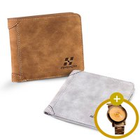 [1+1] Men Leather ID credit Card holder Clutch Coin Purse Wallet+Fashion Watch