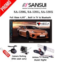 Paket Audio Double din Tape TV Mobil SANSUI + Camera + Antena TV
