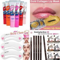 Beauty Pack (Monomola Lips tattoo, Etude Drawing Eyebrow, Masker Bibir Gold, Cetakan Alis Etude)