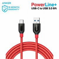Kabel Charger Anker Powerline+ USB-C to USB 3.0 6ft/1.8m A8169 Red