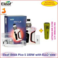 Eleaf iStick Pico S 100W Vaporizer with ELLO Vate Kit 21700 battery - White