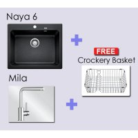 Paket BLANCO NAYA 6 Granite composite sink in+Blanco Mila